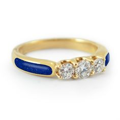 """""""Starry Desert - Trinity"""" Three Diamond Lapis and Gold Engagement Ring. The yellow gold and pyrite-flecked lapis lazuli gives this ring such a beautifully exotic look. #bridaltransformed"""