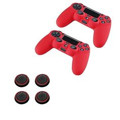 Insten 2 Pcs Pythons Antislip Silicone Case Skin Protector Cover Red  2 Pair  4 Pcs Silicone Analog Thumb Grip Stick Cover BlackRed For Playstation 4 PS4 Wireless Game Controller -- To view further for this item, visit the image link.
