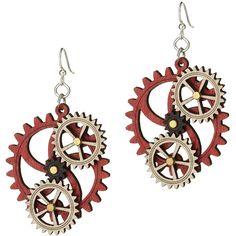 Green Tree Jewelry Kinetic Gear Earrings ($18) ❤ liked on Polyvore featuring jewelry, earrings, steam punk jewelry, wooden jewelry, laser cut earrings, wood earrings and earrings jewelry