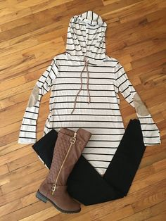Taupe Striped Hooded Tunic