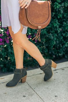 Army green ankle booties + braided tassel saddle bag by Sole Society