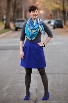 Already Pretty outfit featuring watercolor print scarf, grey boatneck, purple Theory skirt, gray Falke tights, purple suede Aerosoles pumps,...