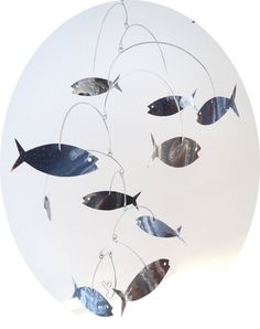 Kinetic Art Sculpture Mobile - SCHOOL, Painted Fish, Calder, Aluminum, Metal. $59.00, via Etsy.