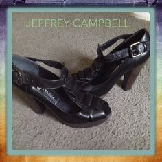 Jeffrey Campbell wooden heels 💄👠 🔥  size 9 scuff on rear of  left & right shoe these wooden heels are his signature 🙌🏻😘💋 Jeffrey Campbell Shoes Heels
