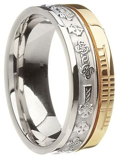 Two Tone Gold Celtic Cross with Ogham Script Wedding Ring