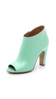 Maison Margiela Peep Toe Booties in mint calfskin, made in Italy