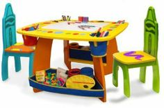 Crayola Wooden Table And Chair Set by Crayola. $89.22. Double-sided dry erase top converts to a traditional chalkboard surface. Includes 2 fabric storages and 4 fabric pen holders. Additional organizers underneath for storage. One wooden table and 2 chairs. 4 easy-access fabric compartments to hold art suppliers. From the Manufacturer                The Crayola wooden table and chairs set comes with 2 kid-sized chairs making shared playtime even more fun. Simply flip over ...