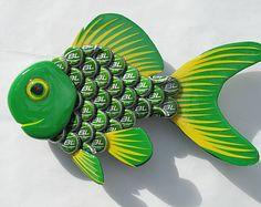 Goldfish Arte Metal chapas púrpura pescados de la por EricsEasel