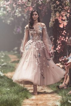 PSS/S1812 – Bishop sleeved ballerina dress featuring floral and nightingale embroidery and the lyrics of Cinderella's, 'Sing Sweet Nightingale'