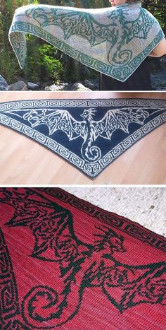 Knitting Pattern for Celtic Sky Dragon Shawl - This reversible double knit scarf . Celtic Sky Dragon Scarf - This reversible double knit scarf features the motif of a stunning Celtic Wind Dragon with triangular Celtic knot wings. Love Knitting, Knitting For Charity, Knitting Blogs, Knitted Shawls, Crochet Shawl, Knit Crochet, Yarn Projects, Knitting Projects, Knit Patterns