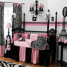 Baby Room--- LOVE the black and pink. If I luck out and have a girl next time I'm excpecting, TOTALLY doing black and pink.