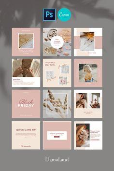 Instagram Feed Ideas Posts, Instagram Feed Layout, Feeds Instagram, Instagram Banner, Instagram Grid, Pink Instagram, Instagram Post Template, Instagram Square, Instagram Design