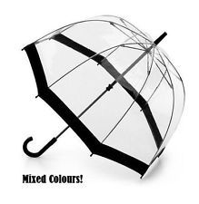 TRANSPARENT COLOURED DOME WALKING UMBRELLA AUTOMATIC BROLLY MIX COLOURS