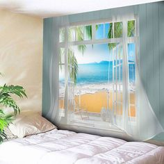 Waterproof Faux Window Beach Printed Wall Tapestry - COLORMIX W59 INCH * L51 INCH