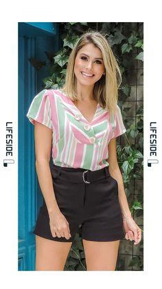 LIFESIDE, Moda Feminina Primavera Verão 2019 Western Tops, Moda Chic, Short Tops, Moda Fashion, Womens Fashion, Blouse Designs, Shirt Blouses, Shirt Style, Short Dresses