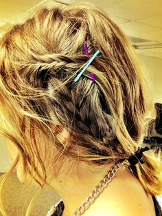 A small fish tail with our Colored Hair pins as well as a french braid with our Skinny Twistband Hair Tie!