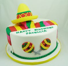 Fiesta Themed Birthday Cake #FiestaCake, #BirthdayCakes, #FondantCake, #MexicanCake