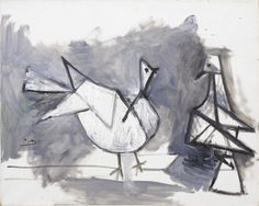 "hipinuff: "" Pablo Picasso (Spanish: 1881-1973), Two Pigeons, 1960. Oil on canvas, 65 x 81 cm. """
