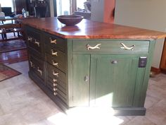Rustic Kitchen island after repurposing...Ahh, that's better!