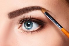 Buy Beautiful female eyes with bright blue make-up and brush by on PhotoDune. Beautiful female eyes with bright blue make-up and brush on white Eyebrow Regrowth, Eyebrow Growth Oil, Regrow Eyebrows, Tweezing Eyebrows, Bushy Eyebrows, What Is Eyebrow Threading, Threading Eyebrows, Face Threading, Eye Makeup Tips