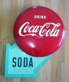 RARE 1950 Coca Cola Double Button Flange Sign Coke Vintage | eBay