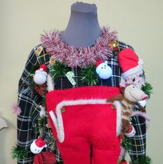 Hysterical Tacky Ugly Christmas Sweater, Men's Hodge Podge Christmas Musical Light up Sweater Mens sz M, Santa's Trap Drawers Making Ugly Christmas Sweaters, Homemade Ugly Christmas Sweater, Ugly Christmas Sweater Women, Ugly Sweater, Christmas Stockings, Christmas Wreaths, Xmas, Reindeer Lights, Christmas Tunes