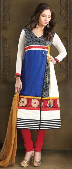 #Blue and White Faux #Georgette Angrakha Style Churidar Kameez @ US $81.53 | Shop Here: http://www.utsavfashion.com/store/sarees-large.aspx?icode=kku21