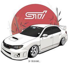Subaru Hatchback, Subaru Impreza Sti, Sti Car, Cool Car Drawings, Toyota Supra Mk4, Jdm Wallpaper, Car Illustration, Japan Cars, Automotive Art