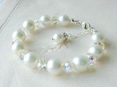 White Pearl Bracelet Swarovski Crystal Jewelry Bridal Jewelry Bridesmaids Jewelry Flower Girls Gifts Christening gifts Wedding Jewelry