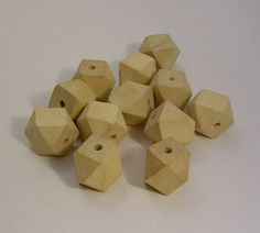 50 Light Wood Unpainted Faceted Cube Wooden by LindsayStreemDIY, $10.60