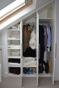 3 Attractive Tips AND Tricks: Attic Bedroom Loft attic remodel floorplan. Loft Conversion Wardrobes, Loft Conversion Bedroom, Dormer Loft Conversion, Loft Conversions, Attic Conversion Storage Ideas, Eaves Storage, Loft Storage, Clothes Storage, Garage Storage