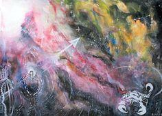 "Poster Art, Nebula, Zodiac, Watercolor - ""Scorpio and Sagittarius"" Painting - Watercolor Original Mandala Art, Visionary Art, Surreal,  Gift #etsy #gifts"