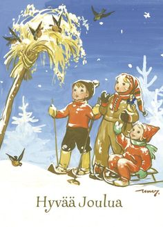 MARTTA WENDELIN | Osastot | Korttien Talo Childrens Christmas, Christmas Art, Childrens Books, 23 November, Scandinavian Christmas, Vintage Holiday, Christmas Pictures, Vintage Children, Finland