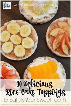 10 Delicious Rice Cake Toppings To satisfy your sweet tooth These are great flavor combinations that are delicious healthysnacks ricecaketoppings cleaneating healthy Rice Cakes Healthy, Rice Cake Snacks, Rice Cake Recipes, Healthy Sweet Snacks, Rice Cake Toppings, Healthy Eats, Easy Snacks, Healthy Foods, Paleo