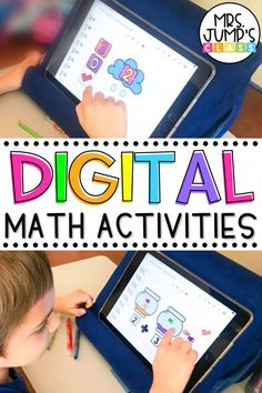 Need some digital math activities that you can use in your Kindergarten and 1st Grade Google Classroom? These interactive math games for kindergarten have moveable pieces on the slides, and cover important early math skills like addition, counting and more!