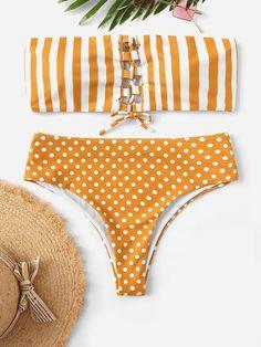 Shop Random Lace-up Striped and Polka Dot Bikini Set online. SHEIN offers Random Lace-up Striped and Polka Dot Bikini Set & more to fit your fashionable needs. Polka Dot Bikini Set, Polka Dots, Women's Dresses, Shops, Bra Types, Beachwear For Women, Bikini Bodies, Swimsuits, Bikini Swimwear