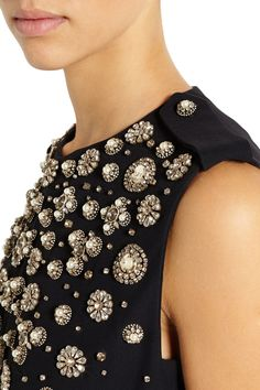 Alexander McQueen | Crystal-embellished crepe mini dress | NET-A-PORTER.COM