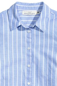 Shirt in a soft cotton weave with a turn-down collar, buttoned cuffs and a rounded hem. Blue Stripes, Shirt Dress, Lady, Cotton, Mens Tops, Shirts, Dresses, Fashion, Shirtdress