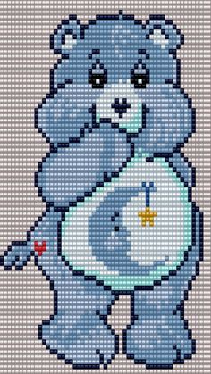 Bedtime Bear from the Care Bears Square Grid Pattern 55 Columns X 76 Rows (Pattern by me, Man in the Book) Disney Cross Stitch Patterns, Peyote Stitch Patterns, Beading Patterns, Plastic Canvas Crafts, Plastic Canvas Patterns, Baby Motiv, Modele Pixel Art, Pixel Art Grid, Seed Bead Projects