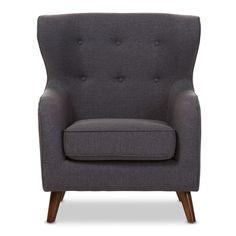 Baxton Studio Athena Mid-Century Modern Grey Upholstered Tufted Armchair
