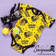 Sourpuss Clothing Stray Cats One Piece #sourpuss #sourpussclothing #kids #coolkids #babygift #onesie #rockabillybaby
