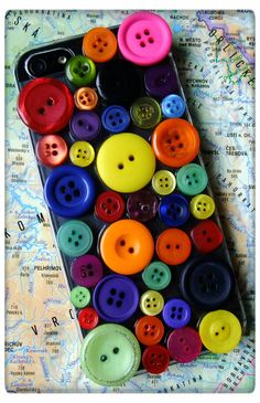 People are SELLING these???      Colourful button iPone 5 cover/case by kubijewellery on Etsy, $15.00