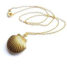 Amazon.com: Sea Shell Locket, Mermaid Valentine Necklace, Beach... ($2.92) ❤ liked on Polyvore featuring jewelry, necklaces, gold tone necklace, seashell jewelry, beach necklaces, locket necklace and brass necklace