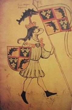 Représentation héraldique du dauphin Louis, futur Louis XI (vers 1450).