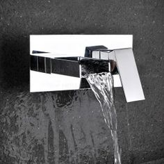 Mero Contemporary Waterfall Wall Mount Bathroom Sink Faucet in Chrome