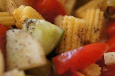 FooDabbler - Mélanie's salad - cucumbers, baby corn, tomatoes, hearts of palm, balsamic vinegar, avocado, green olives, salt pepper EVOO