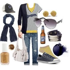 Milwaukee Brewers - Fall by fawnelizabeth on Polyvore featuring Gap, Victoria's Secret, Abercrombie & Fitch, Forever 21, Converse, St. John's Bay, *Accessories Boutique, Betty Jackson. Black, Oscar de la Renta and Stila