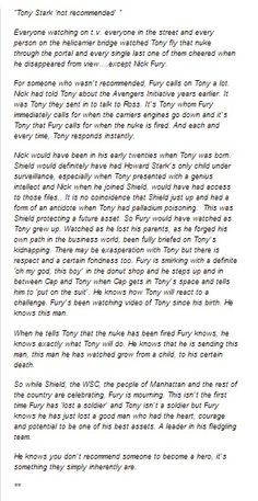 Tony Stark character analysis from Marvel's Avengers. Taken from tumblr.