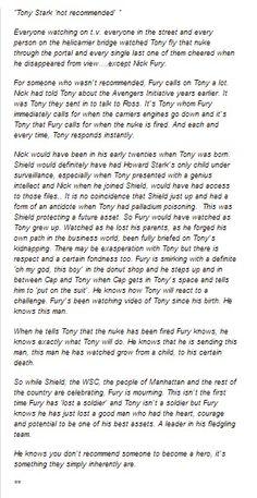 Tony Stark character analysis from Marvel's Avengers. Taken from tumblr.