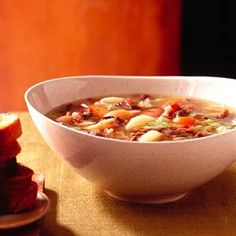 Ham, beef, beans, and lots of vegetables make this soup a filling meal for a cold winter day.